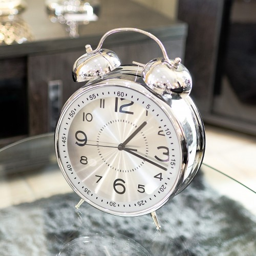 Giant Alarm Clock  Twin Bell Alarm Clock  Large Silver