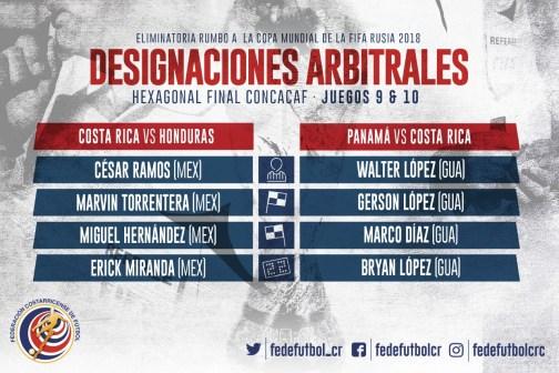 Designaciones árbitrosn partidos eliminatorios octubre