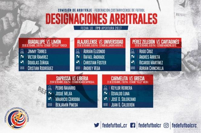 Designaciones jornada 10 primera división
