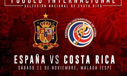 Costa Rica jugará ante España en noviembre