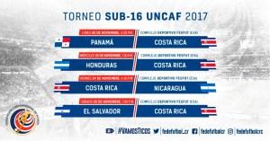 Calendario sub 15 UNCAF