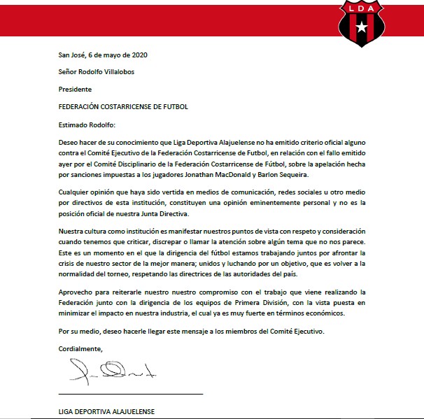 Carta de LDA