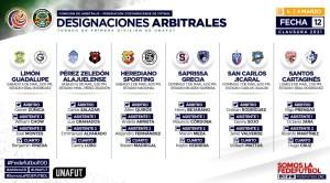 Designaciones arbitrales jornada 12 primera division