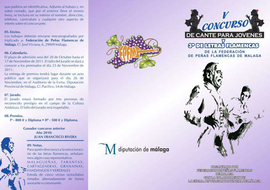 V CONCURSO DE CANTE PARA JOVENES Y III  DE LETRAS
