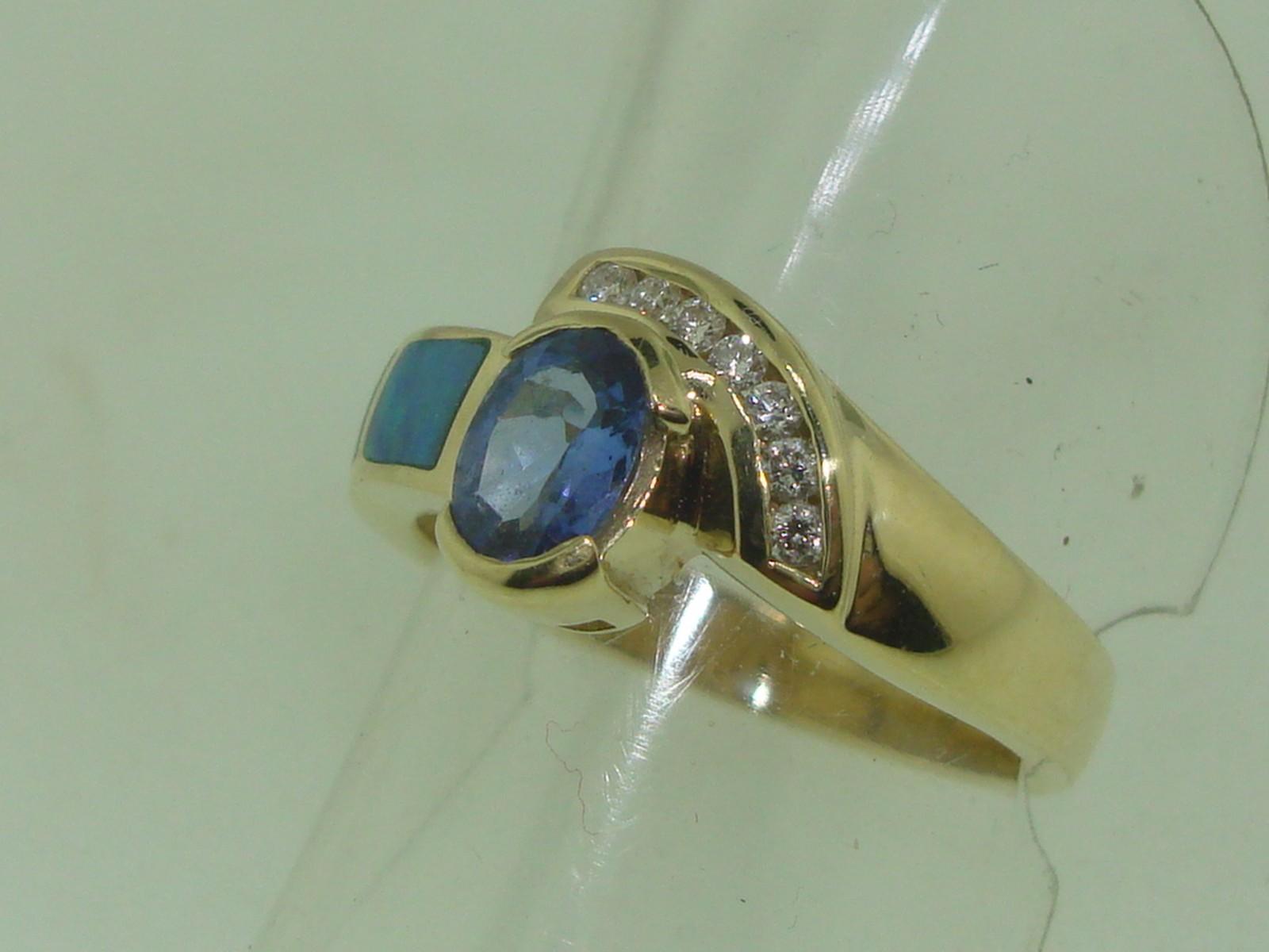 Beautiful 14k Solid Gold Tanzanite Diamond Amp Fiery Opal Ring