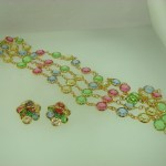 BEAUTIFUL VINTAGE SWAROVSKI 36″ PASTEL CRYSTAL NECKLACE & MATCHING EARRINGS!