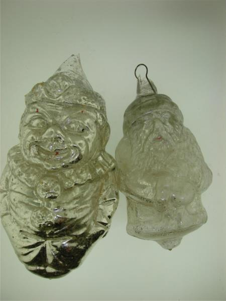 2 Antique Mercury Glass Santa Clown Christmas Ornaments Federal