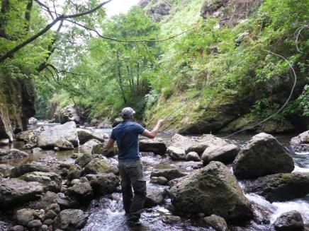 Pêche au Tenkara dans les gorges
