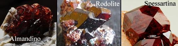 Almandino, Rodolite e Spessartina