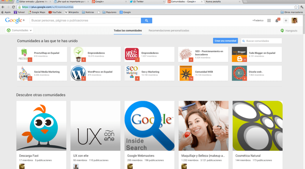 ejemplo de comunidades de google plus.