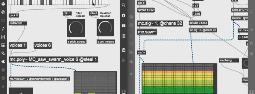 Building a swarm poly synth using Max 8 new MC objects