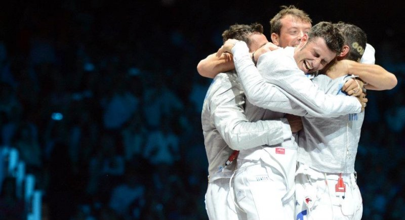 Italian Men's Foils team wins gold at the London Olympics
