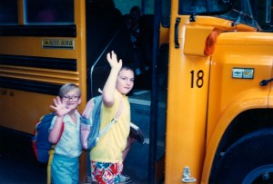 Clare and Drew boarding the schoolbus