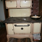 The cook stove (with bread cubes getting stale for stuffing)