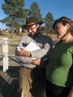 Clare, Rob, and Spencer take their first walk together