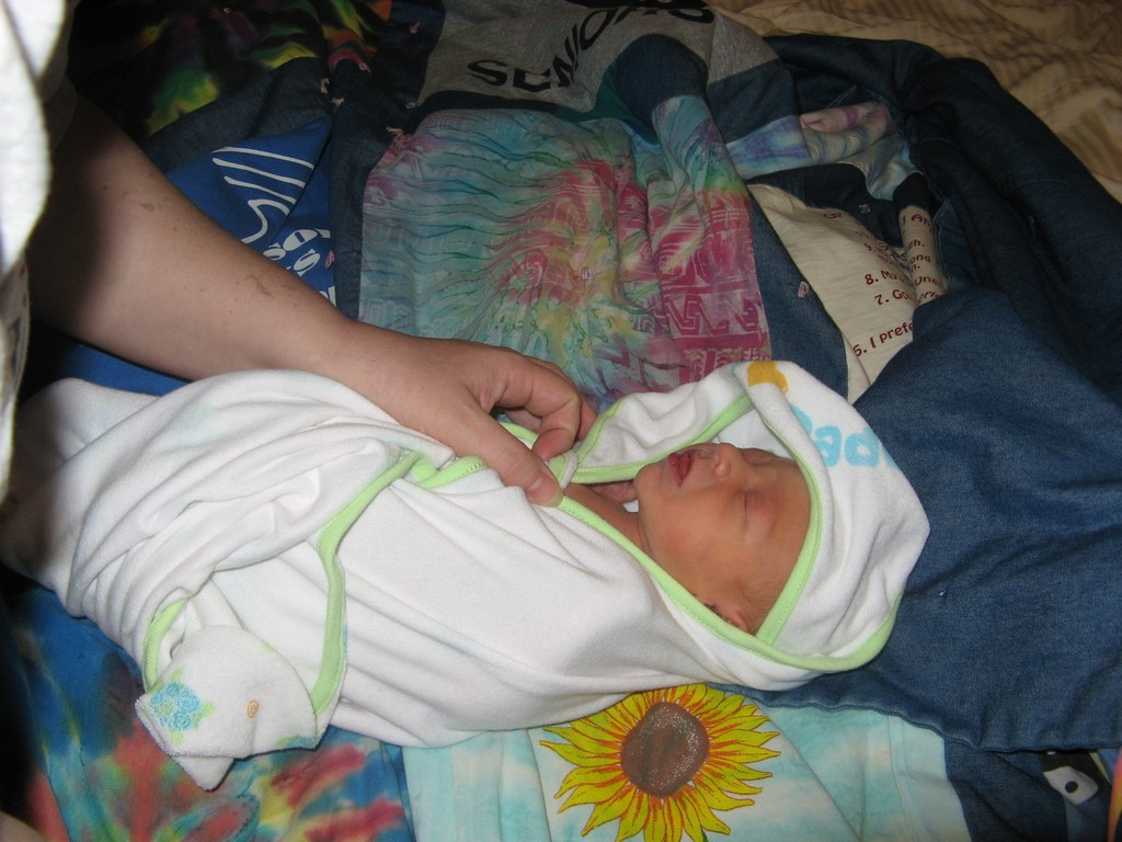 Warming Spencer up after his bath