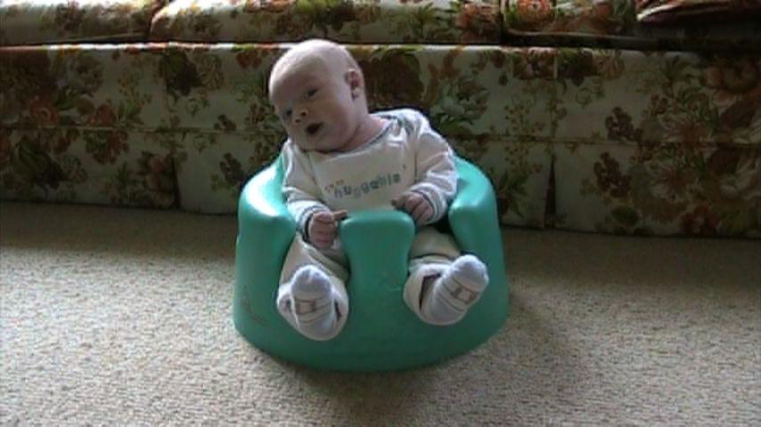 Spencer enjoying the bumbo chair