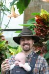 Rob and Spencer under the cool plant
