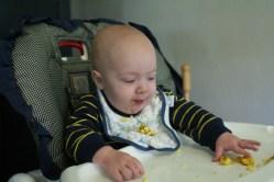 Spencer grabbing for eggs