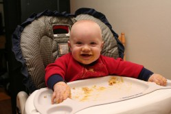 Spencer enjoying penne with butternut squash sauce