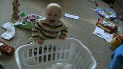 Spencer helping me with the laundry