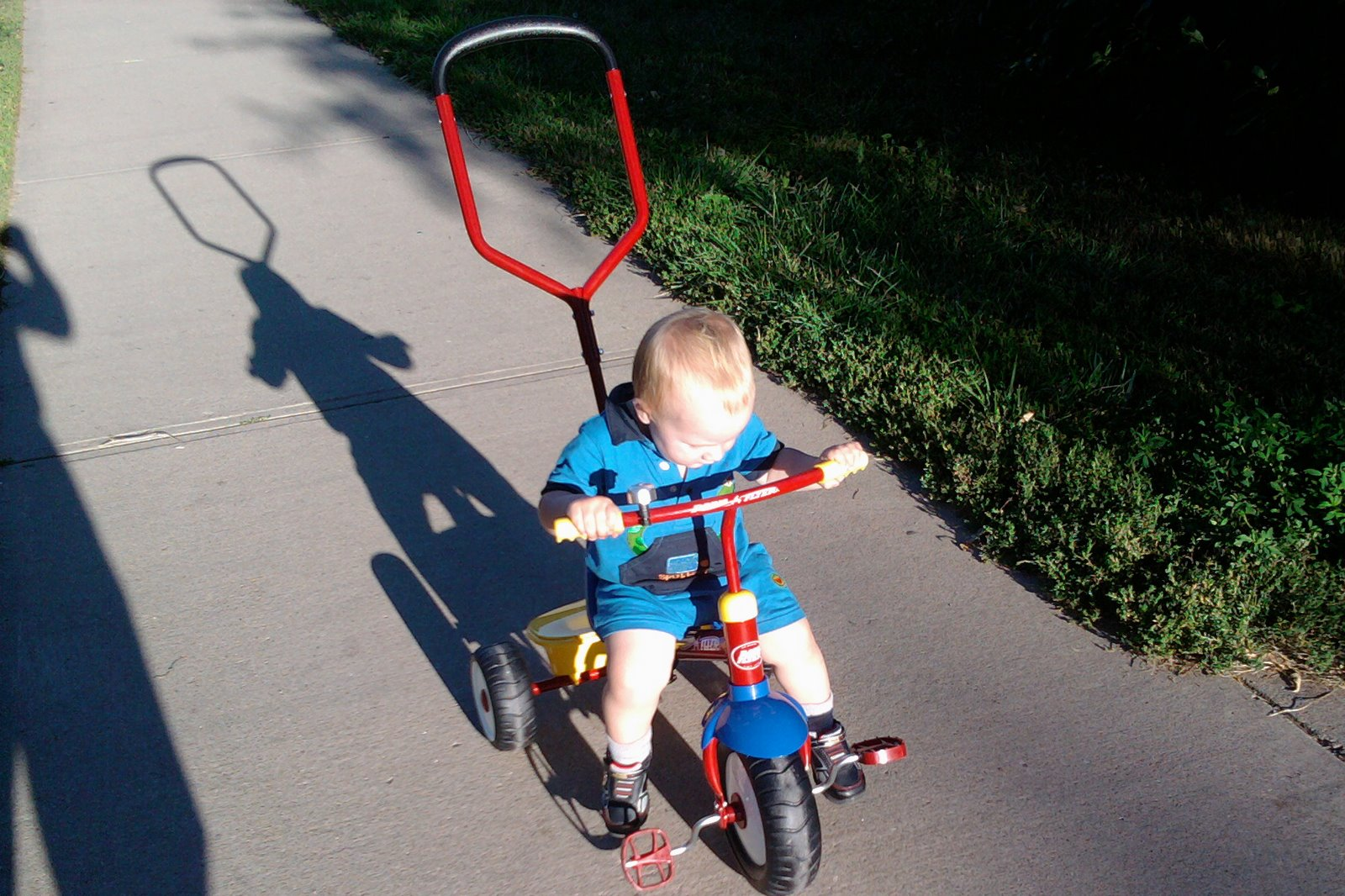 Spencer on his new tricycle