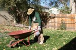 Spencer helping Rob push the wheelbarrow