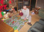 Spence and Grandpa Felty playing cars