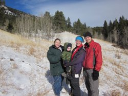 Clare, Spencer, Mekayla, and Greg hiking near Blackhawk, CO