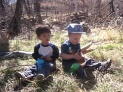 Spencer and Tao having a picnic