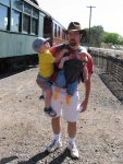 Rob and the kids at the railroad museum