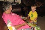 Spencer shows grandma how he colors