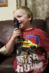 Spencer tries out his new microphone