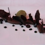 Dessert - chocolate with mint sorbet