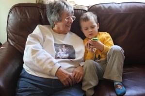 Spencer showing grandma Felty the gangnam style video