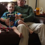 Spencer and Grandpa Felty playing monster truck