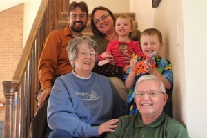 Rob, Clare, Meg, Spencer, Grandma and Grandpa Felty