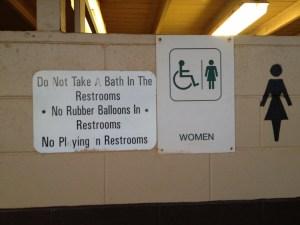More specific bathroom signs