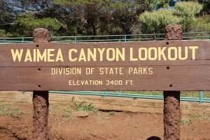 Waimea Canyon Lookout sign