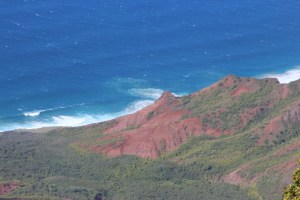 View of red rocks from Kalalau lookout