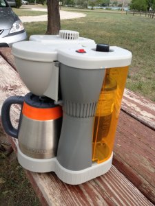 Ellen's awesome coffee maker that runs on butane instead of electricity
