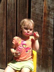 Meg blows bubbles