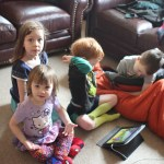 Fedibblety and Soule-Reeves children watching videos