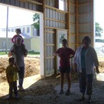 Checking out the new building at the Harrimans farm