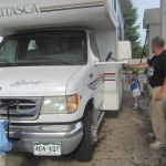 Cleaning the RV at a gas station