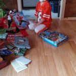 Spencer checking out his haul from Santa