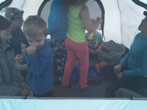 Meg made a party in our tent