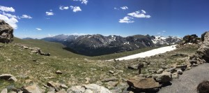 Panorma of Rocky Mountain park from the tundra