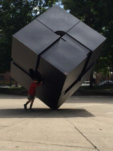 Spencer pushing the cube