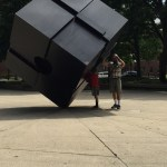 Spencer and Rob pushing the cube